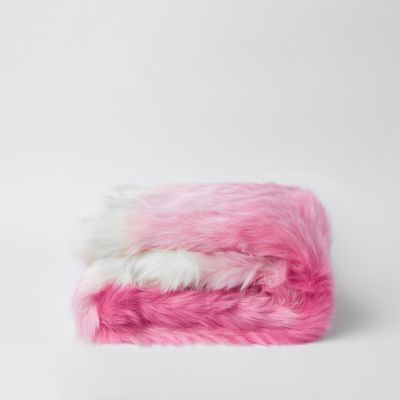 Pink Throw With Gold Foil Reverse by River Island