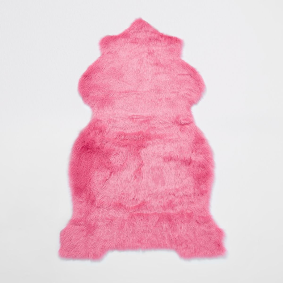 Pink faux fur rug with gold foil reverse