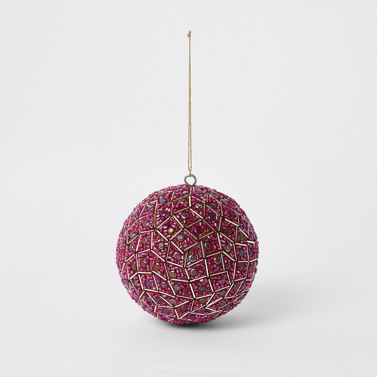 Grosse boule de Noël rose brillante