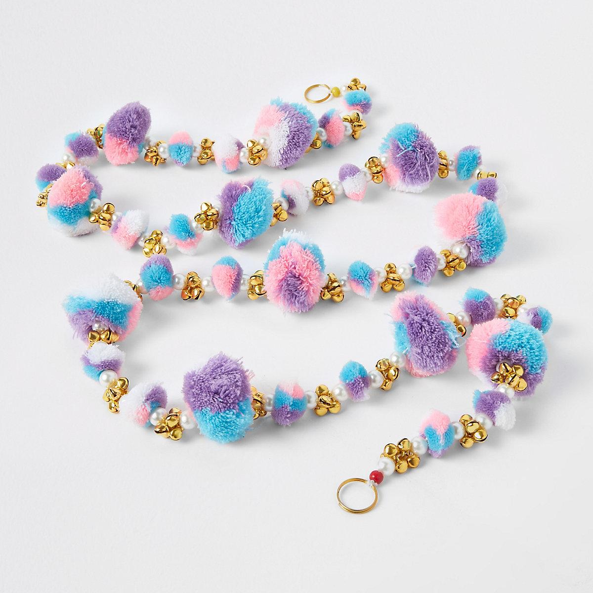 Guirlande à pompons couleur pastel