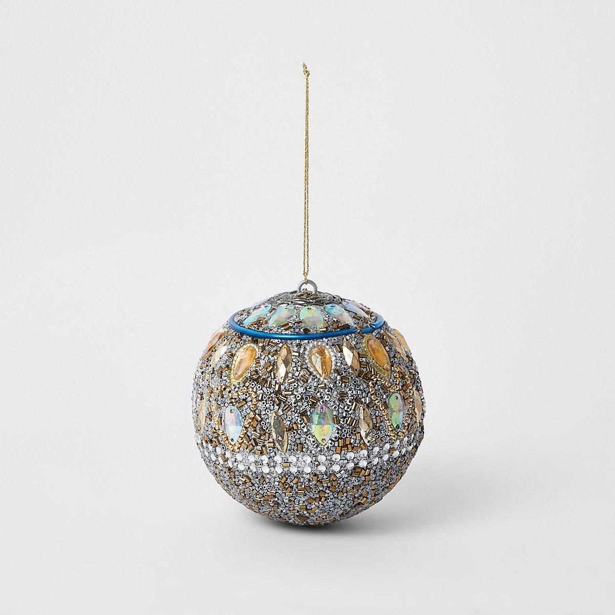 Grosse boule de Noël argentée brillante avec pierres fantaisie