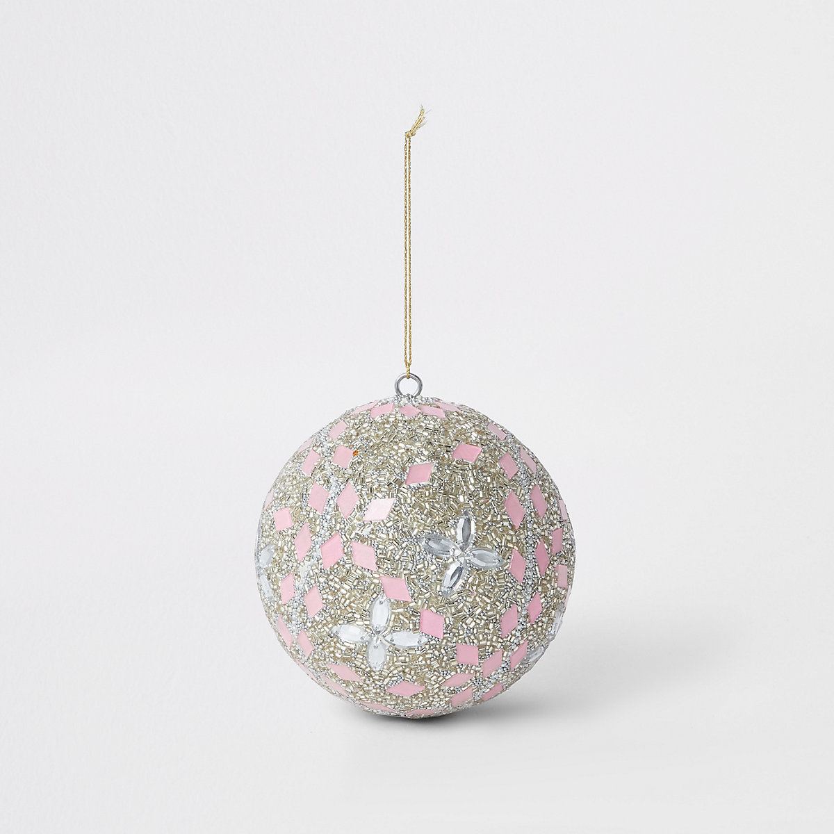 Light pink large jewelled bauble