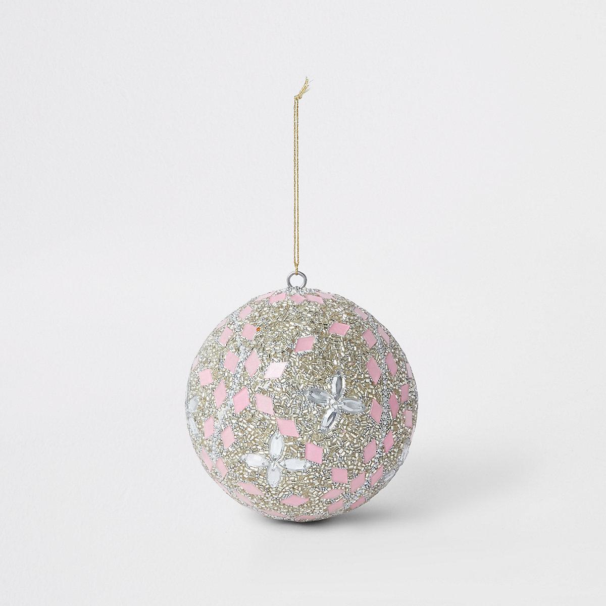 Grosse boule de Noël rose clair à pierres fantaisie