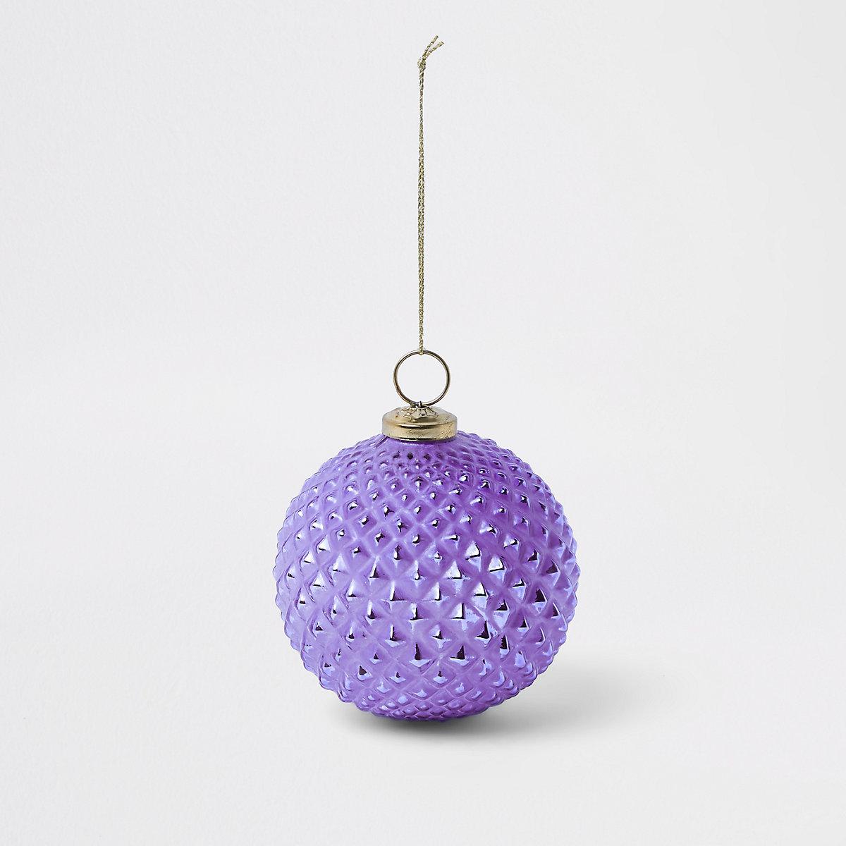 Grosse boule de Noël violette métallisée