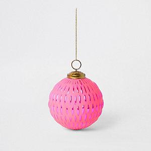Bright pink large metallic bauble