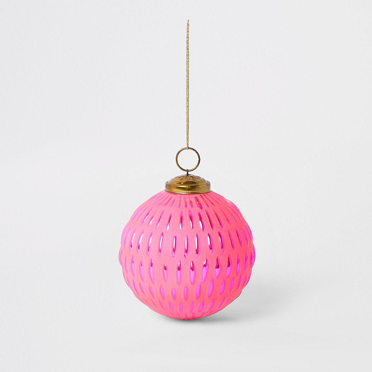 Large bright pink metallic bauble