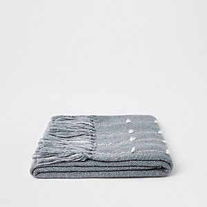 Grey throw with sewn thread detail