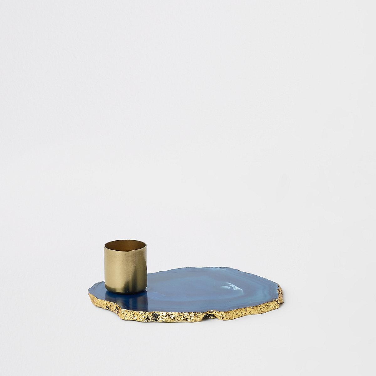 Bougeoir agate bleu