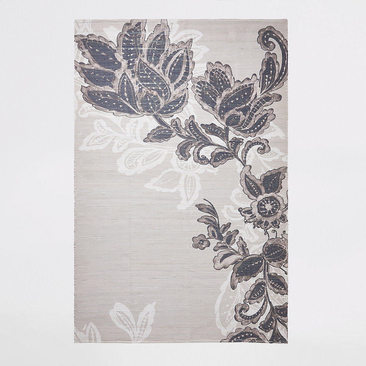 Handwoven recycled large grey floral printed