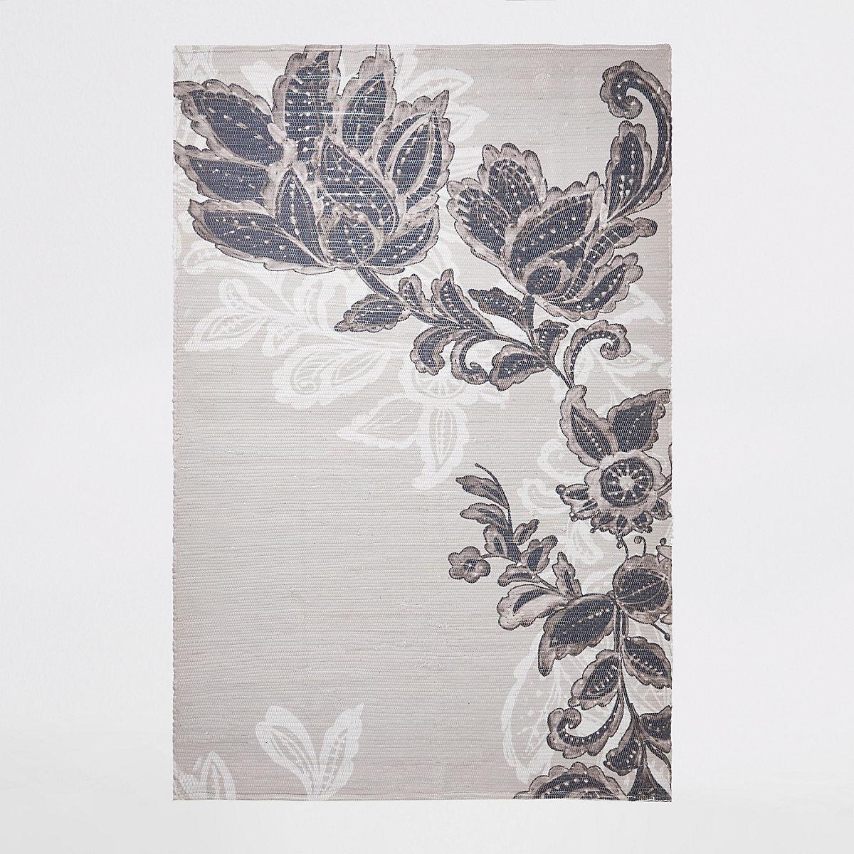 Grand modèle tissé main recyclé à imprimé fleurs gris