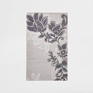 Small grey floral printed rug