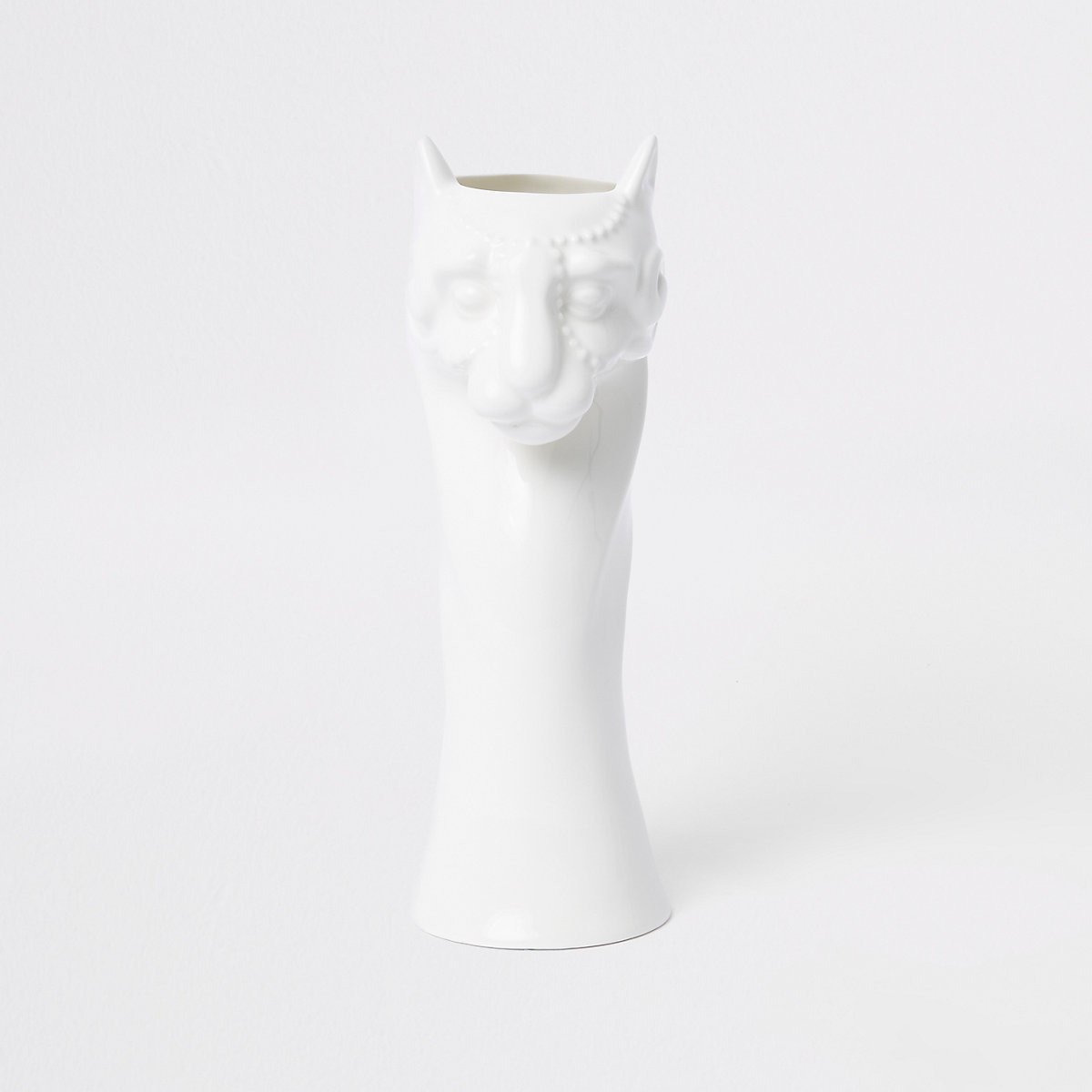 White glossy panther ceramic vase