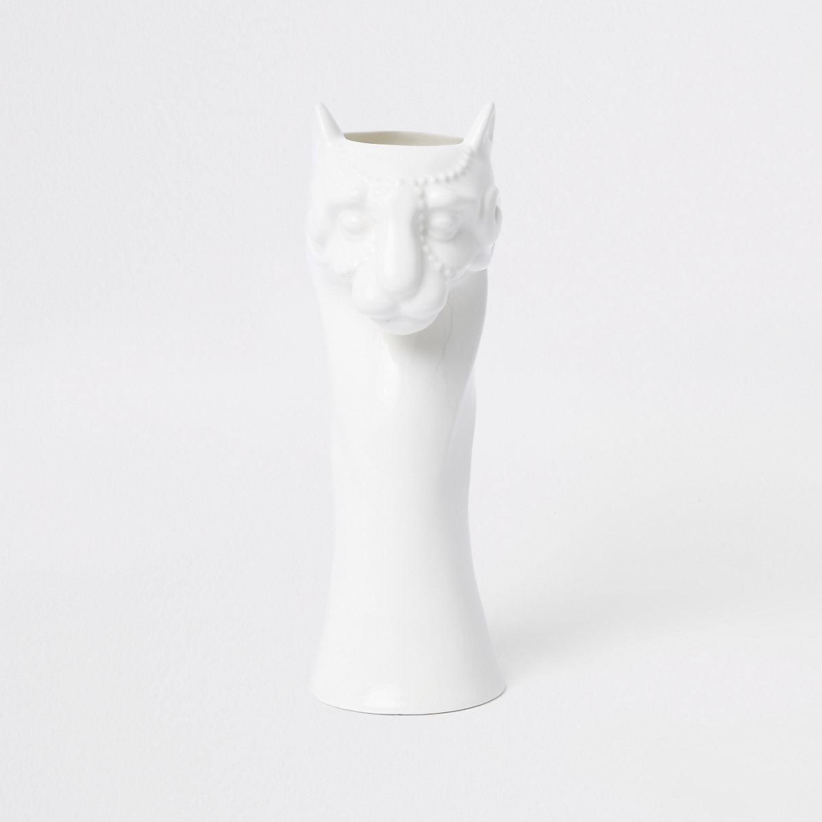 White glossy panther ceramic vase
