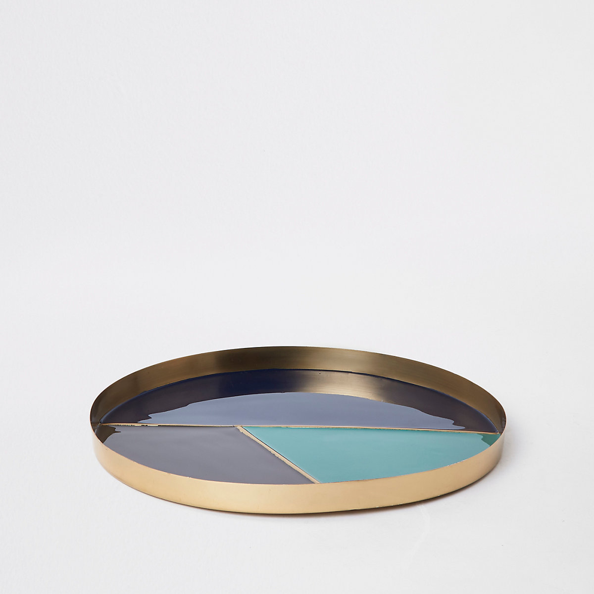 Blue colour block round tray