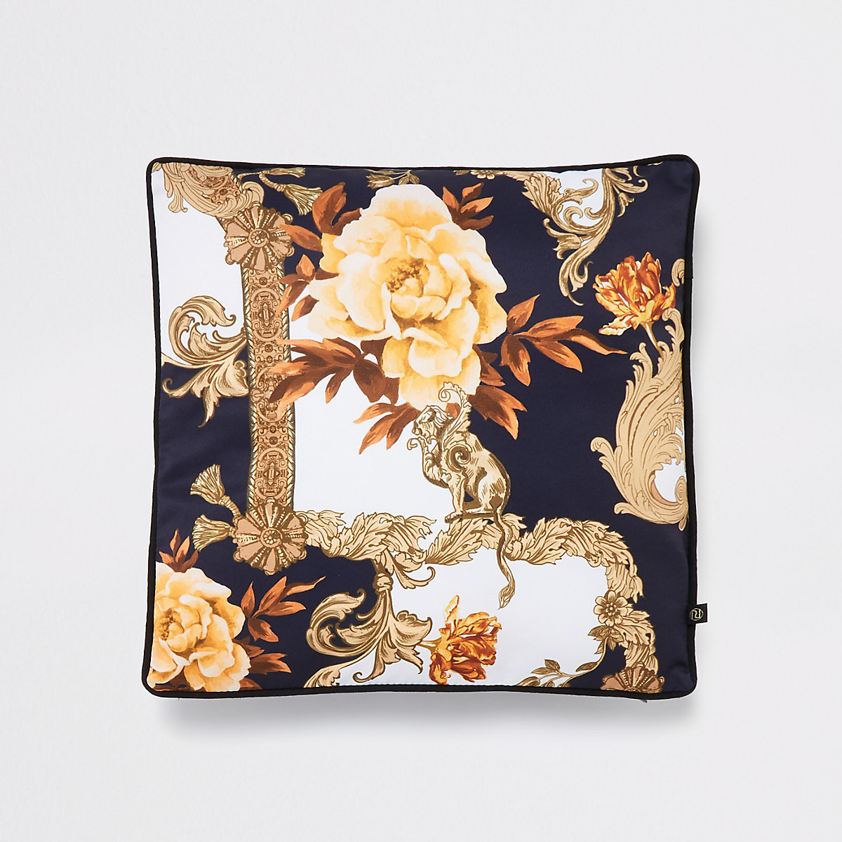 Navy baroque print cushion