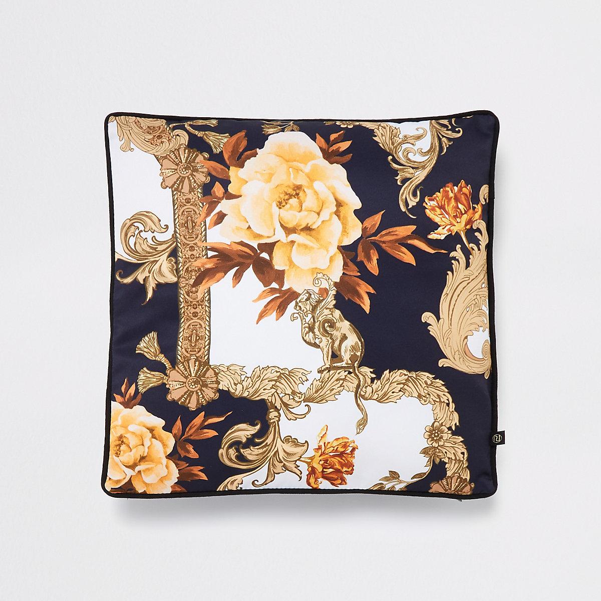 Blue ornate print cushion