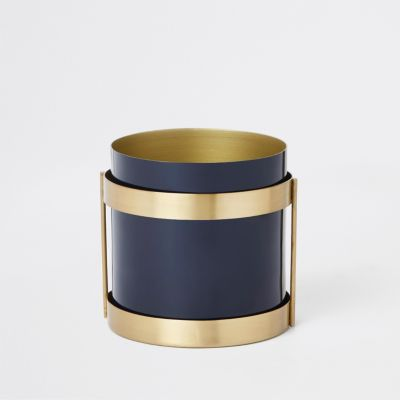 Multi Blue Steel Planter by River Island