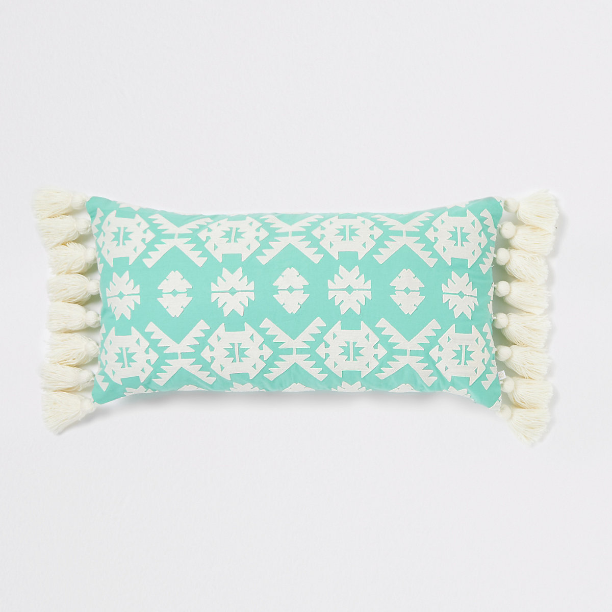 Large mint green geo embroidered cushion