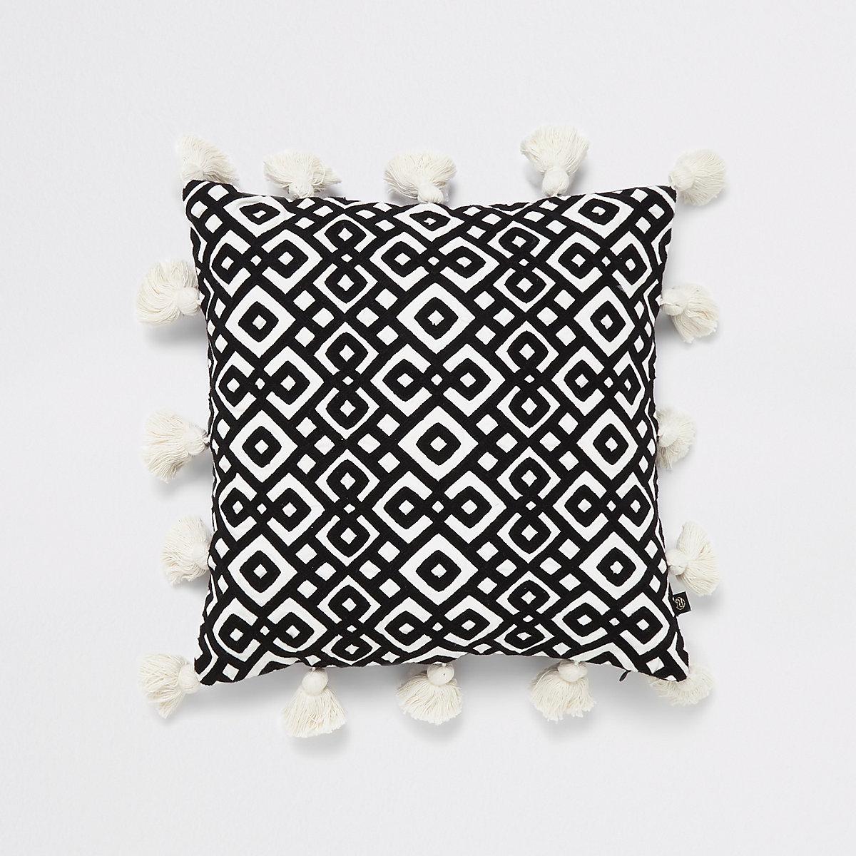 Black diamond embroidery tassel cushion