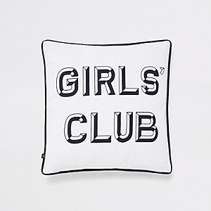 White slogan print cushion