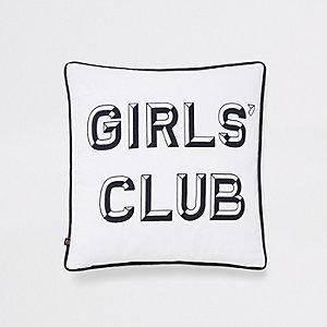 White girls boys club print cushion