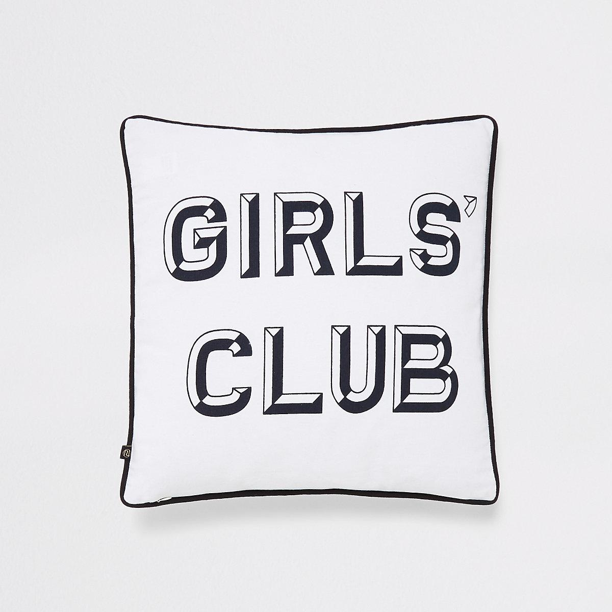White slogan print cushion