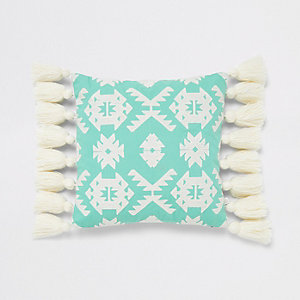 Green geo embroidery tassel cushion