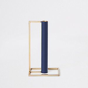 Blue metal bar candle holders