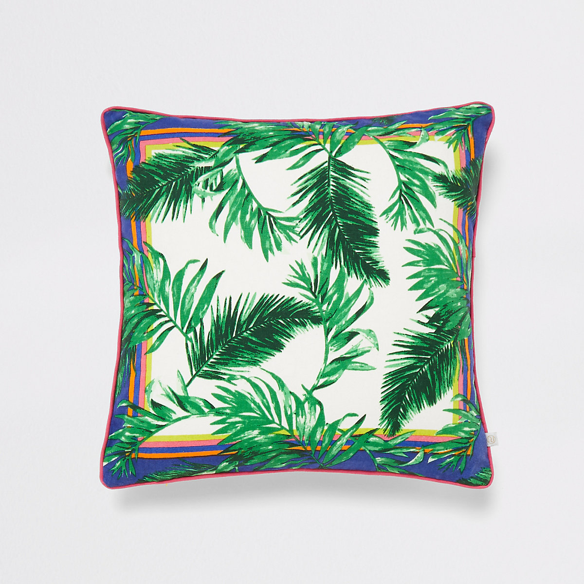 Green jungle print cushion
