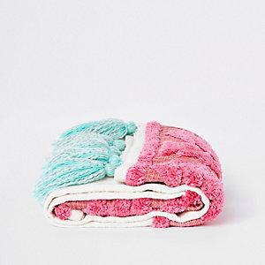 Überwurf mit Quasten in Pink, Türkis und Creme