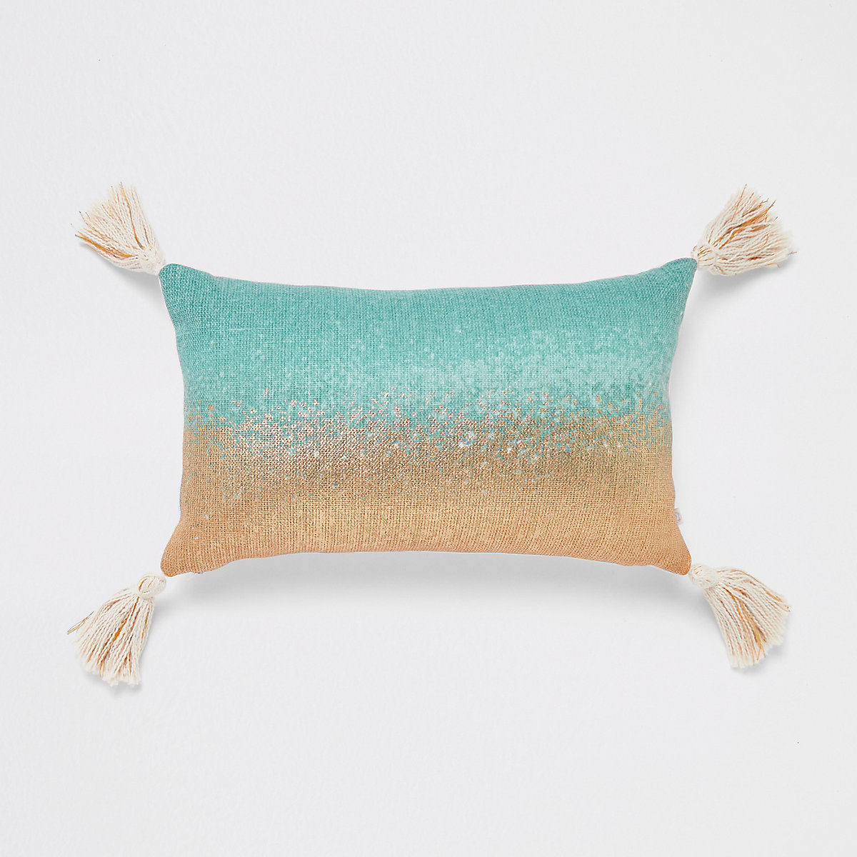 Mint to gold ombre cushion with tassels
