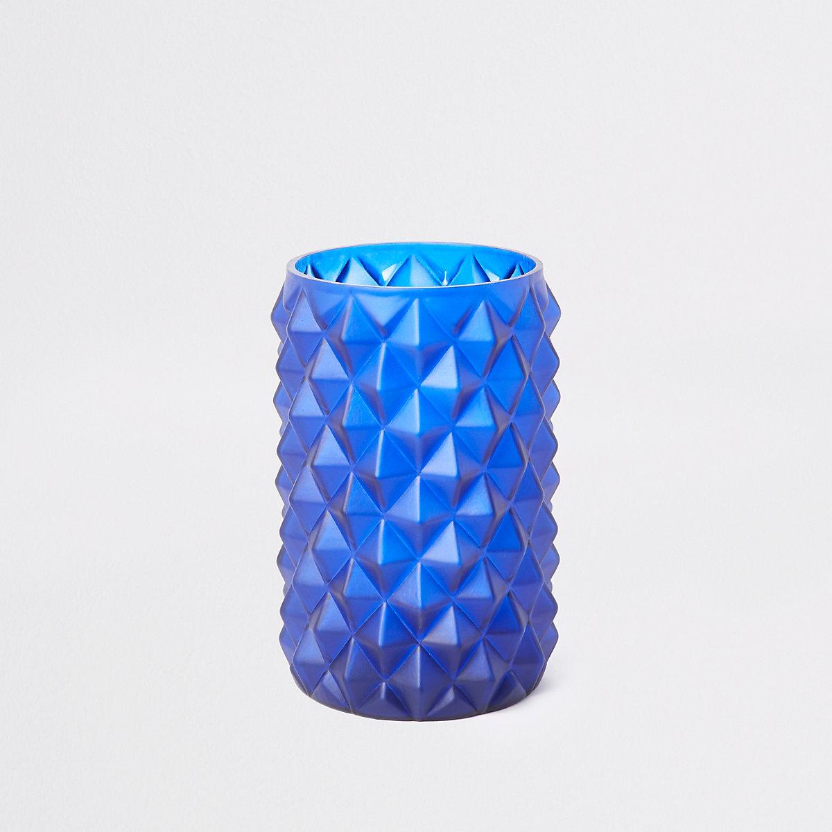 Medium Blue Textured Tall Vase