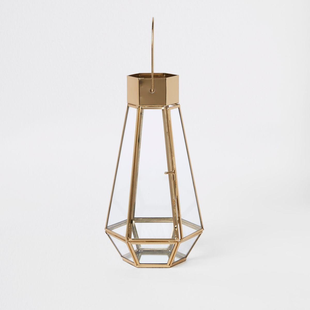 Gold tall glass lantern
