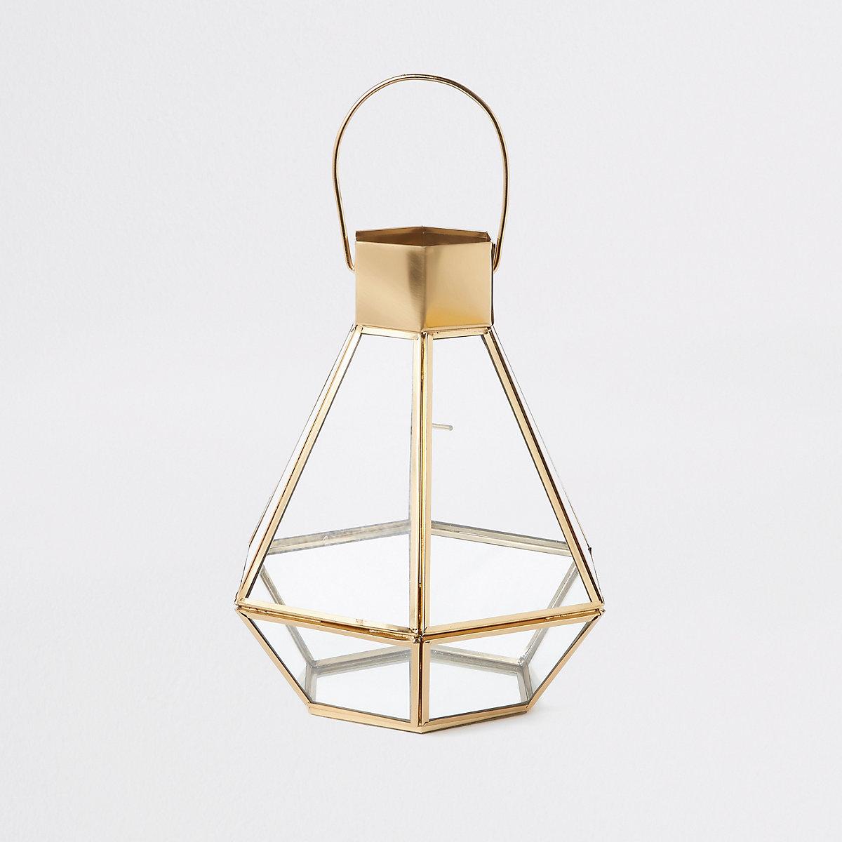 Gold small glass lantern