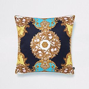 Turquoise baroque print cushion