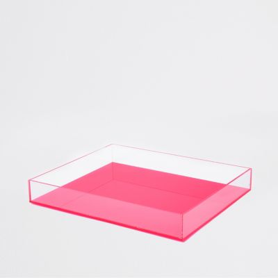 Large Pink Acrylic Tray by River Island