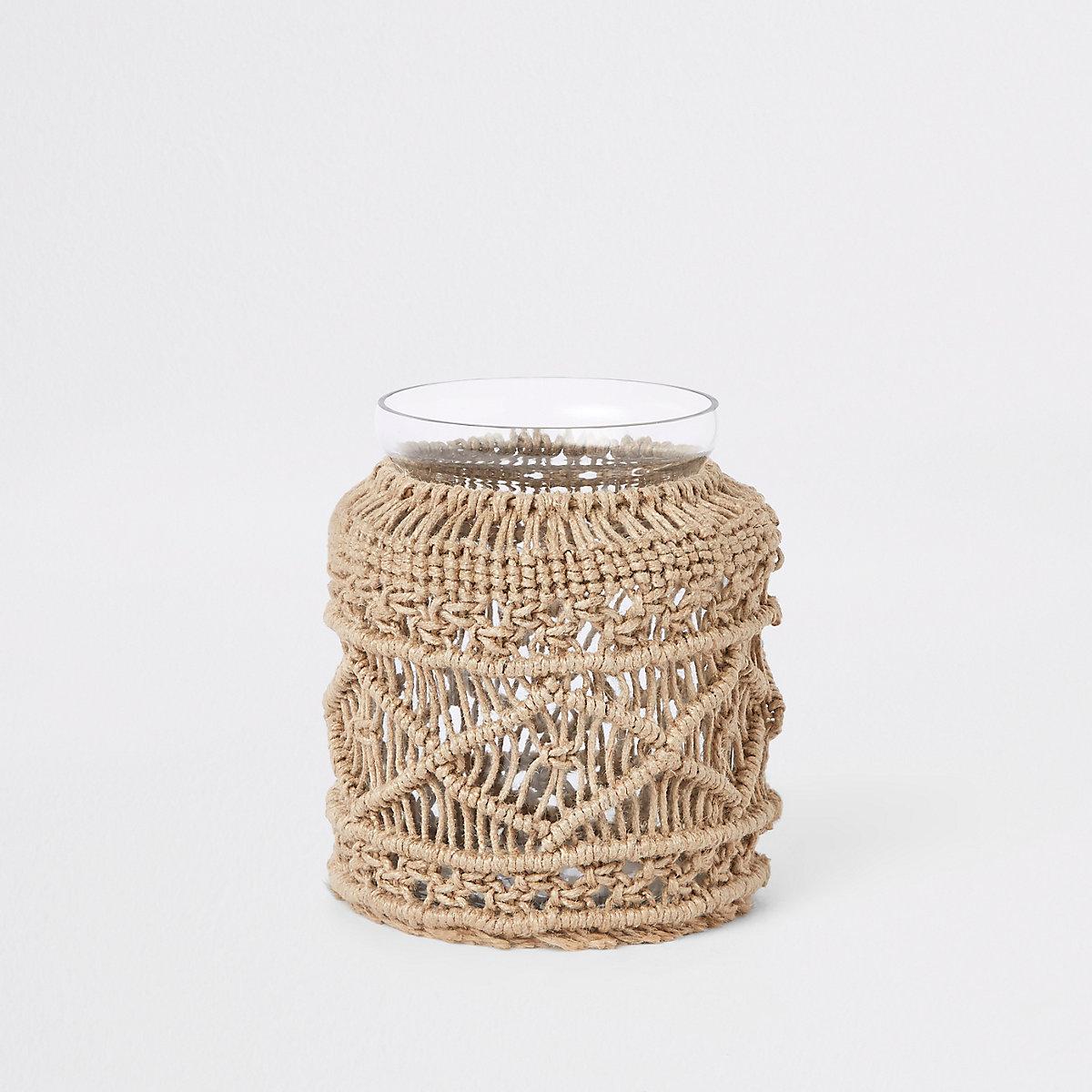small dark cream macrame vase