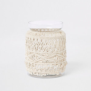 Large cream macramé glass vase