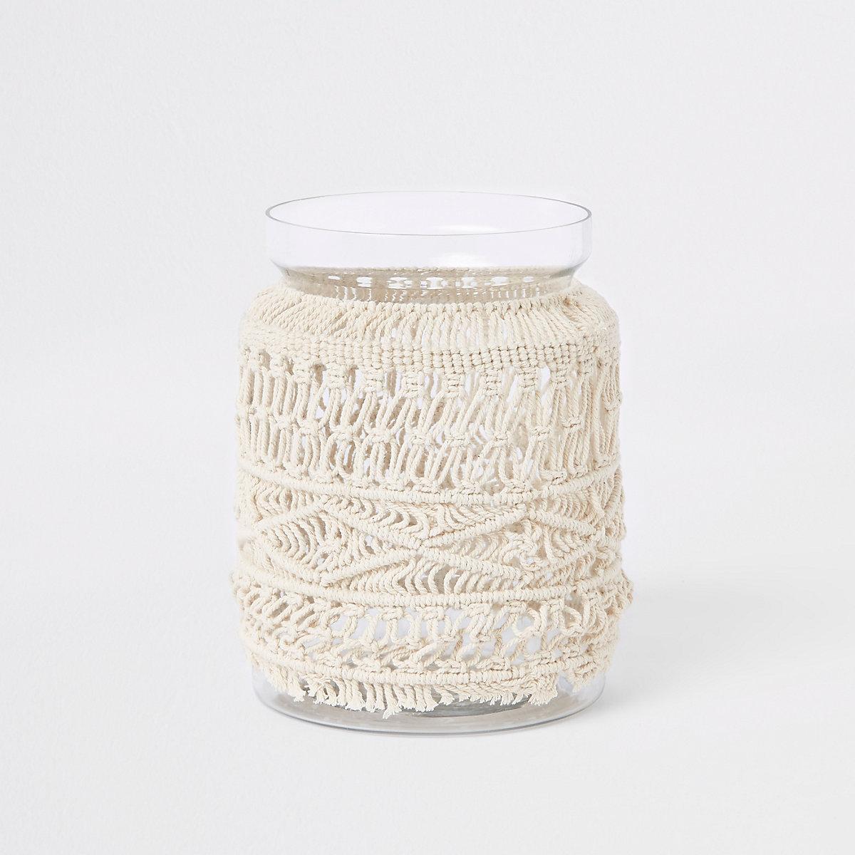 Large cream macramé glass vase