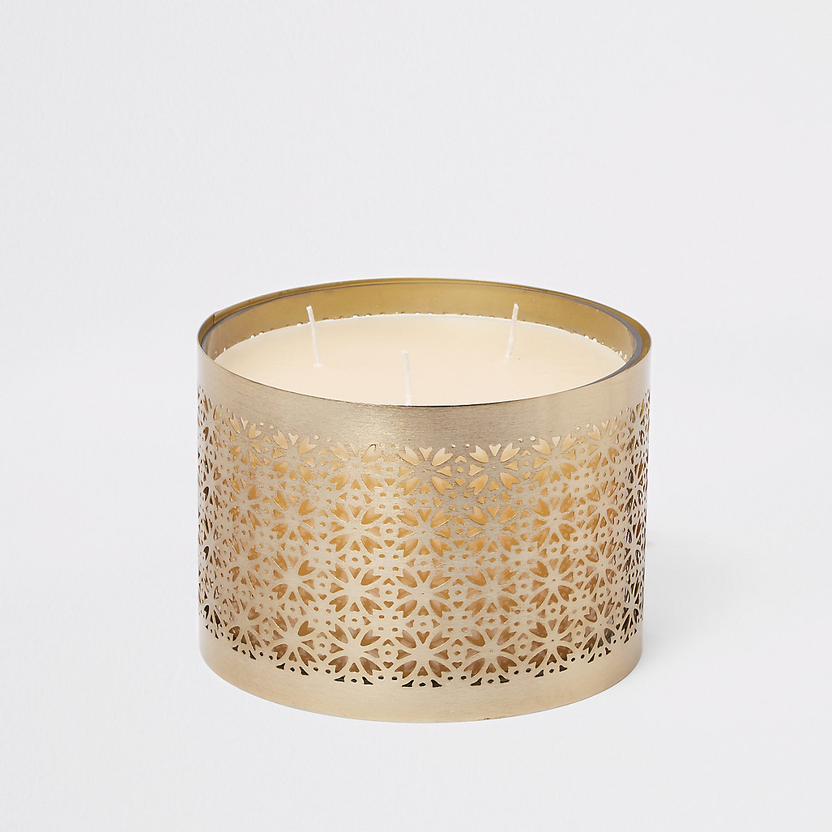 Gold 3 wick large caged candle