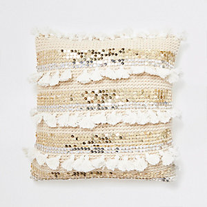 Cream knitted sequin tassel cushion