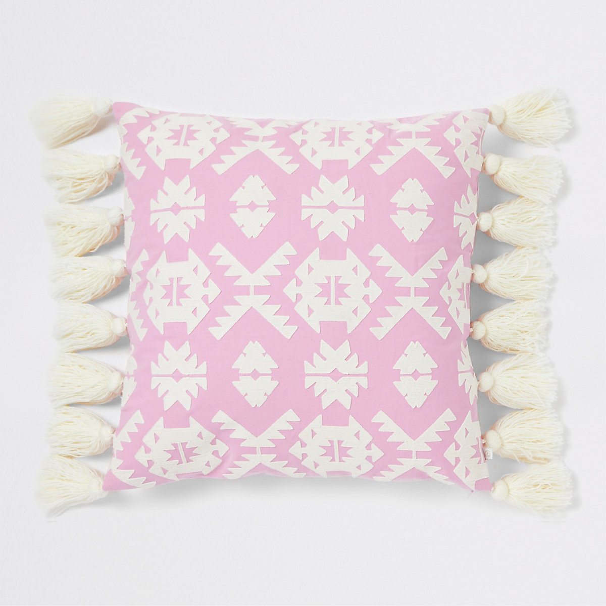 Large pink geo embroidered cushion