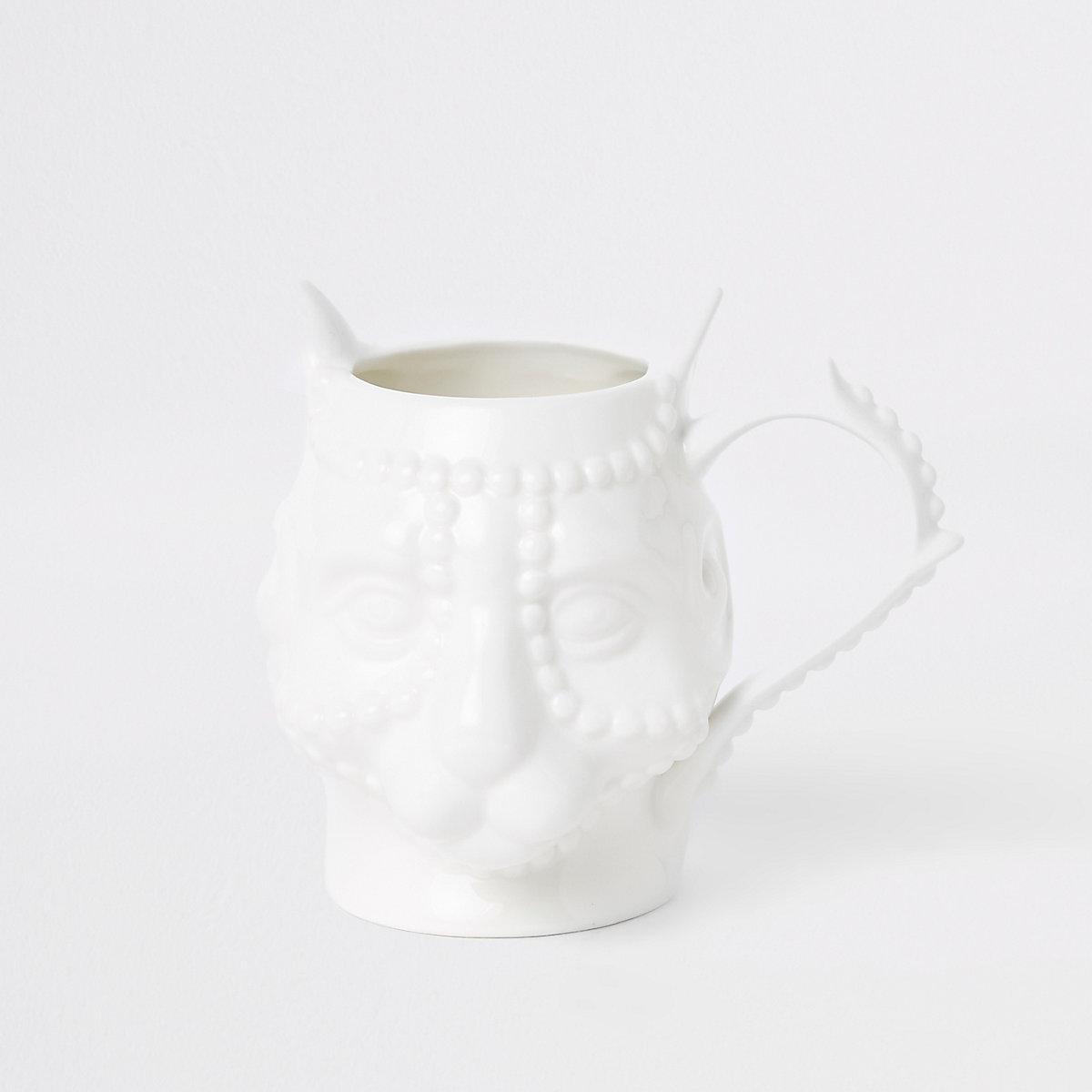 White panther face ceramic mug