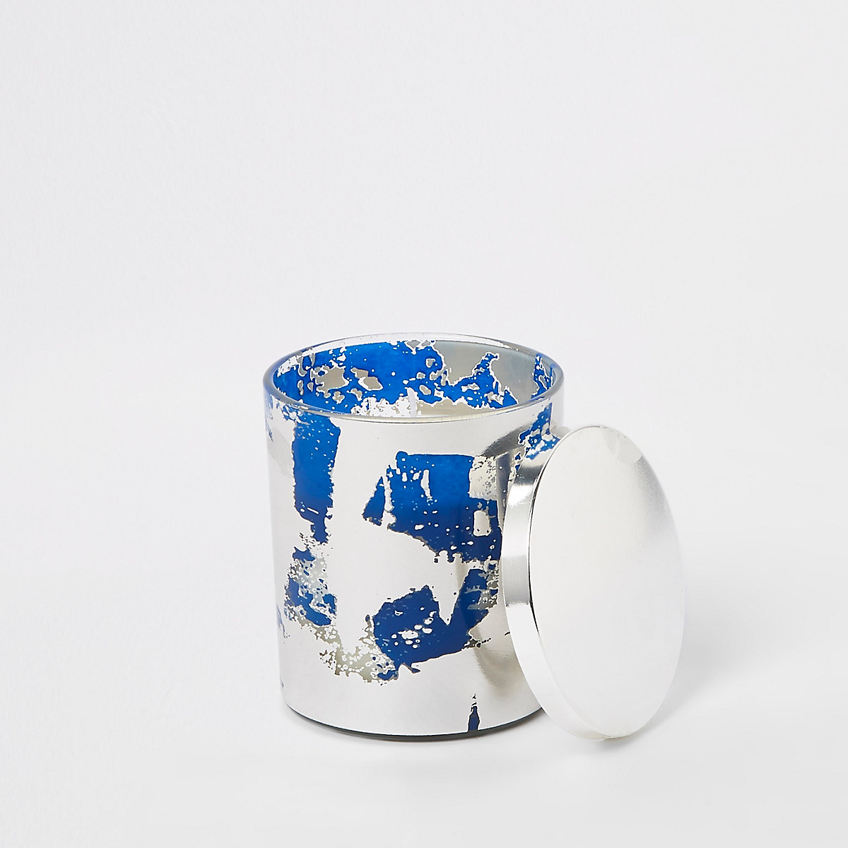 Blue metallic abstract print candle