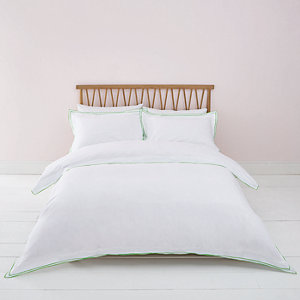 White green border double duvet bed set