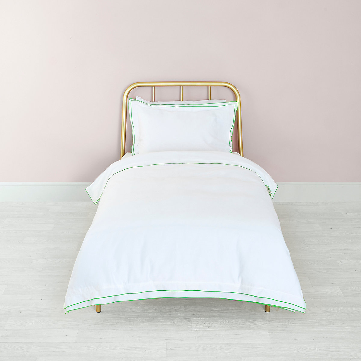 White green border single duvet bed set