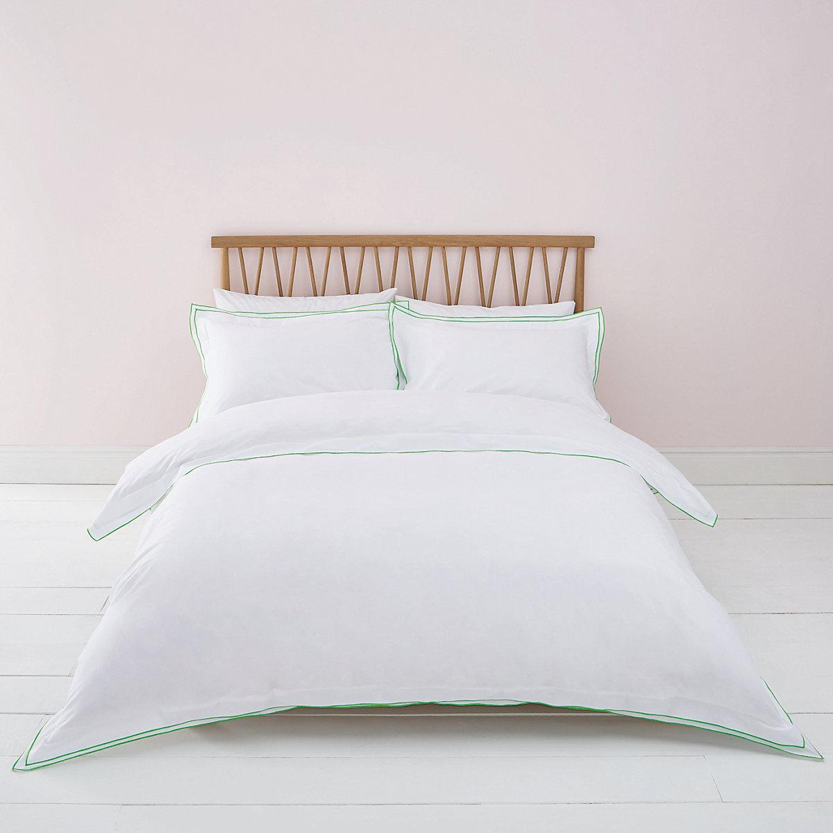White green border king duvet bed set