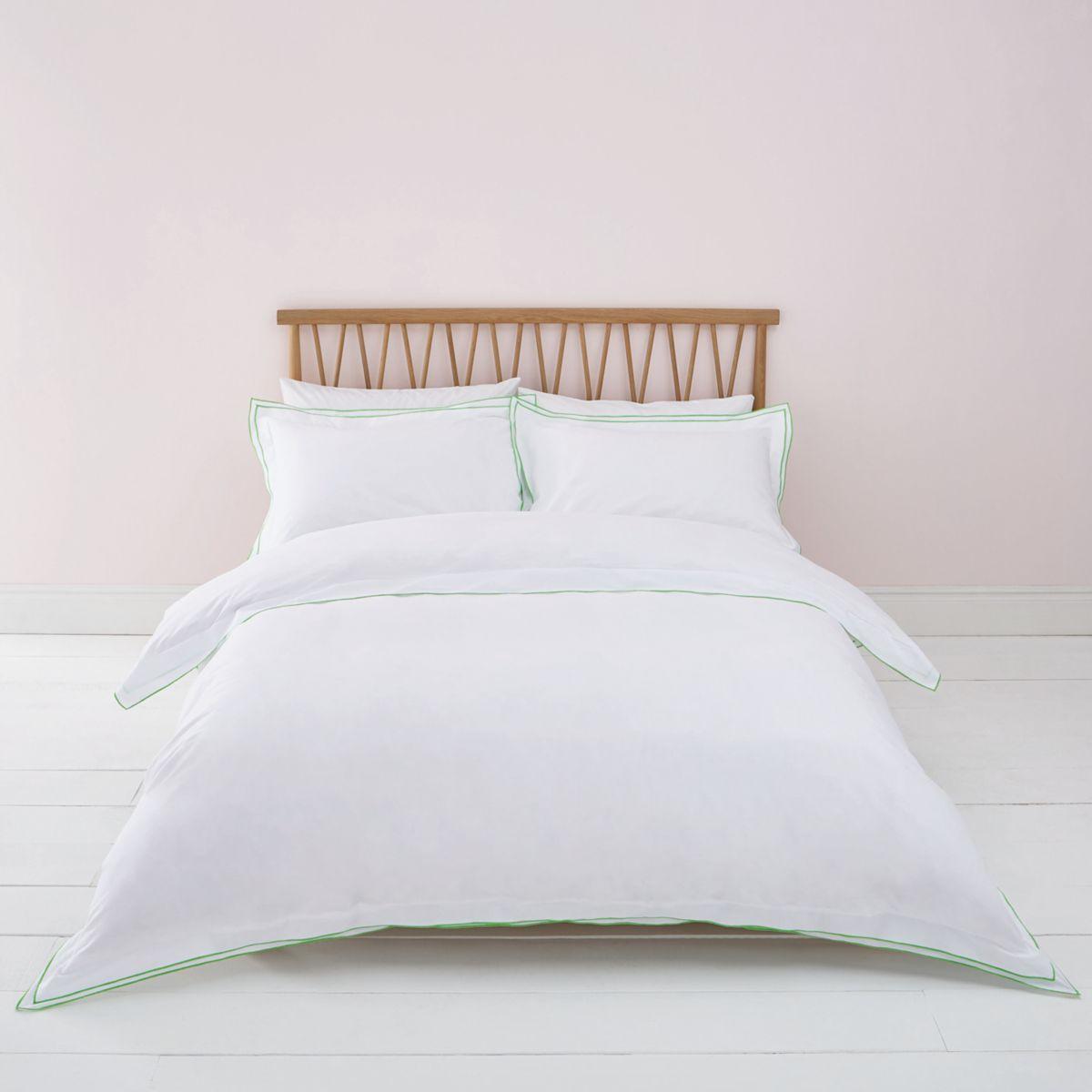 White green border superking duvet bed set