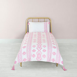 Pink Aztec print single duvet bed set