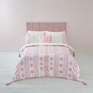 Pink Aztec embroidered double duvet bed set